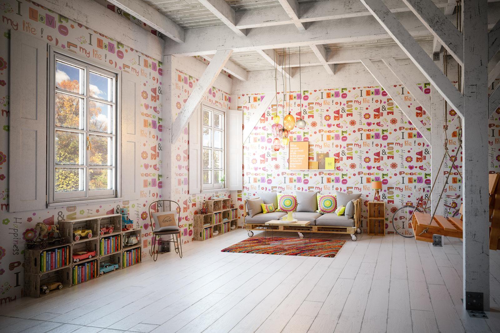 Teen Bedroom with Funky Wallpaper