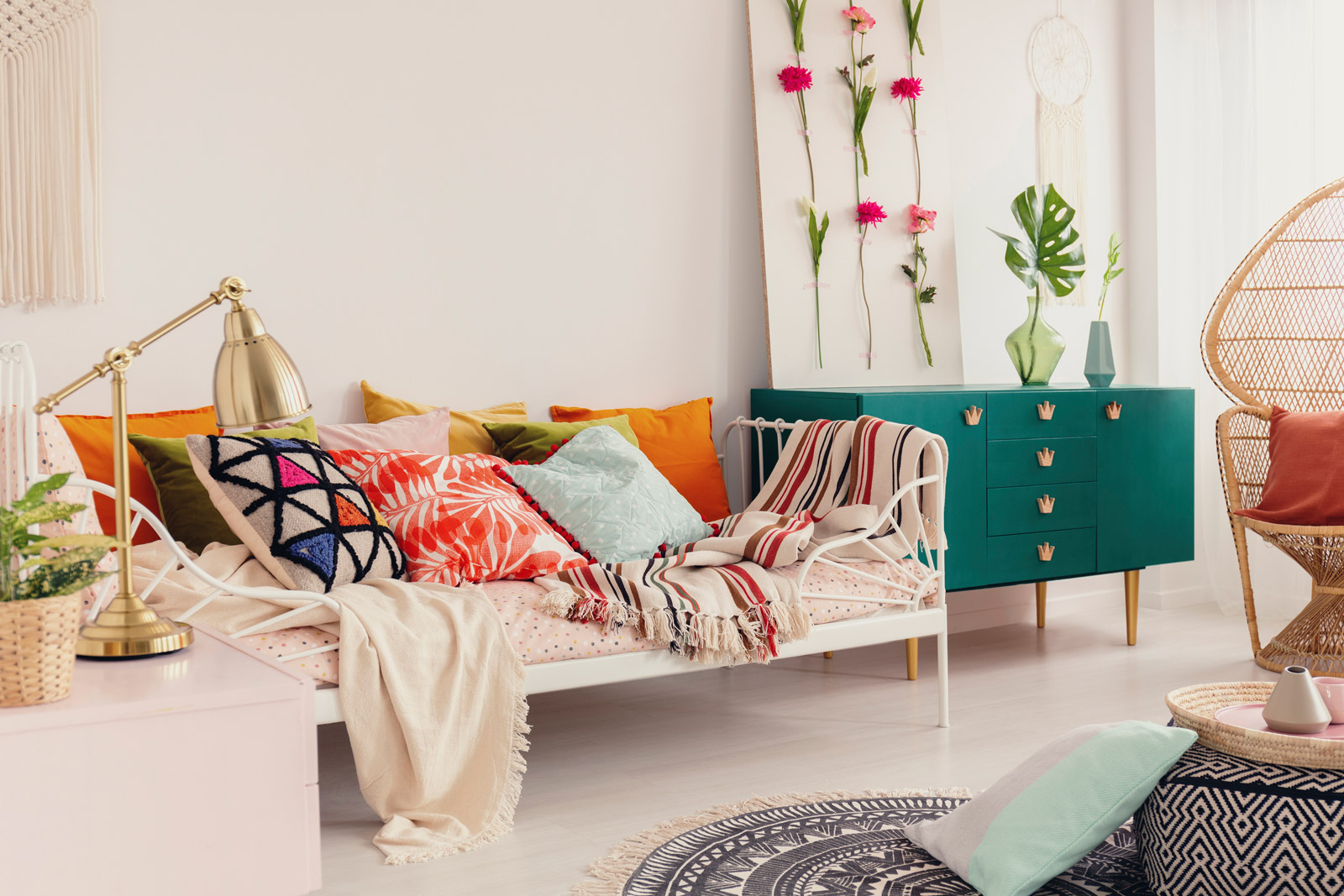 Day Bed with Teal Credenza