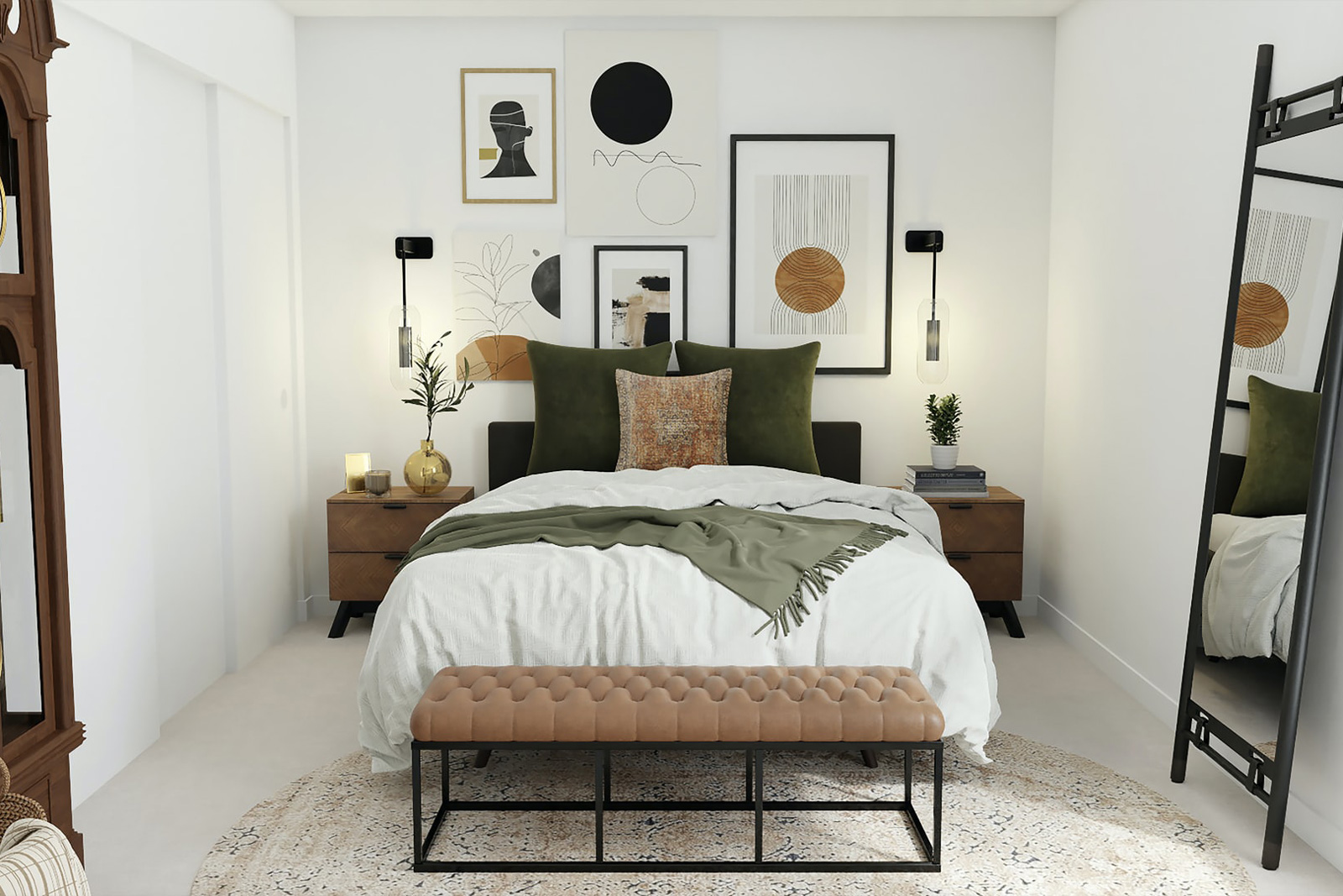 Green Pillow Bedroom